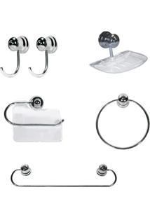 Kit Para Banheiro Plus 6 Peças Cromado