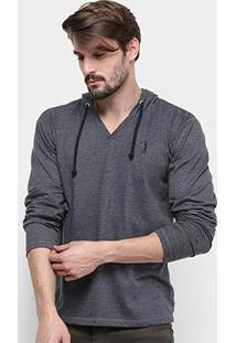 Camiseta Aleatory Manga Longa Capuz Masculina - Masculino-Mescla Escuro