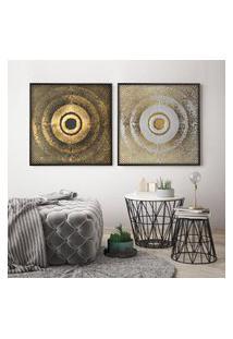 Quadro Com Moldura Chanfrada Abstrato Com Dourado Grande