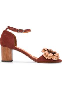 Chie Mihara Sandália Com Aplicação Floral E Salto 65Mm - Marrom