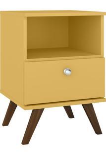 Criado Mudo Com Gaveta- Amarelo & Marrom- 58X40X38Cmmovel Bento