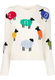 Benetton Suéter Com Logo - Branco
