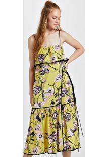 Vestido De Viscose Midi Estampa Floral Jane Viés Constrastante Est Floral Jane Amarelo - 40