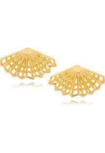 Brinco Ear Cuff Lua Mia Joias Leque Plissado Geométrico Banho Ouro