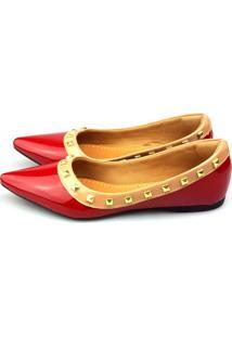 Sapatilha Love Shoes Bico Fino Valentino Spike Verniz Vermelho