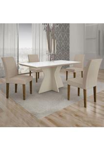 Conjunto De Mesa De Jantar Creta Com 4 Cadeiras Olímpia Veludo Branco E Palha