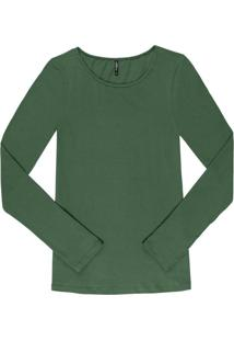 Blusa Manga Longa Em Cotton Verde
