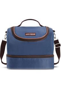 Bolsa Térmica Com Divisórias- Azul Marinho Marrom Escujacki Design