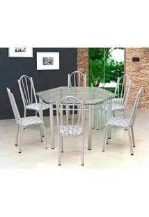 Conjunto De Mesa Com 6 Cadeiras Lorena Branco E Estampa Capitonãª
