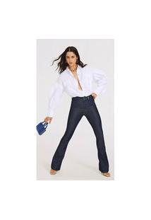 Calça Morena Rosa Boot Cut Carol Cós Alto Amaciada Jeans