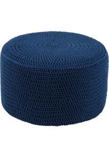 Puff Pastilha Crochê Azul Royal