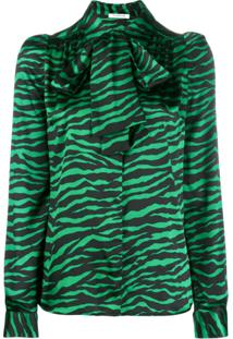 P.A.R.O.S.H. Animal Print Pussy Bow Blouse - Verde