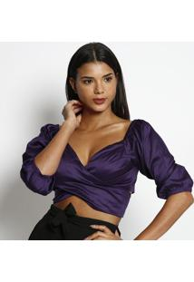 Blusa Cropped Com Transpasse- Roxo Escuro- Miss Bellmiss Bella