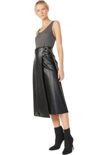 Saia Midi Leather Detalhe Trançado