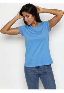 Camiseta Com Recortes- Azul & Douradaclub Polo Collection