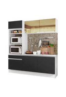 Cozinha Compacta Madesa Diamante Com Armário, Balcão E Tampo Branco/Preto