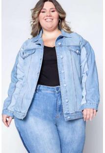 Jaqueta Almaria Plus Size Izzat Jeans Azul
