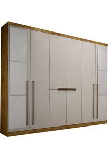 Guarda-Roupa Casal Com Espelho 8 Portas Otto-Novo Horizonte - Freijo Dourado / Off White
