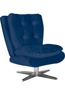 Poltrona Decorativa Tolucci Suede Azul Marinho Com Base Giratória Em Aço Cromado - D'Rossi