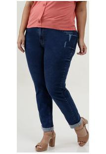 Calça Feminina Jeans Cigarrete Puidos Plus Size Marisa