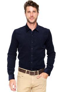 Camisa Veludo Ellus Lisa Azul-Marinho
