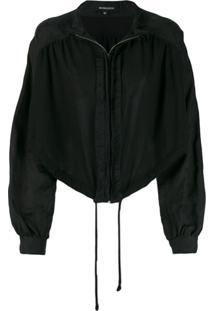Ann Demeulemeester Cropped Zip Jacket - Preto