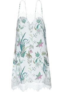 Camisola Curta Sem Manga Liganete Zaira Floral Branco