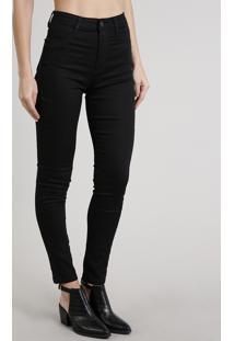 Calça Jeans Feminina Sawary Super Lipo Super Skinny Preta