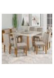 Mesa Julia 135 Cm Ype Off White Tampo Giratório Carrara 08 Cadeiras Amanda Ype Wd25 New Ceval