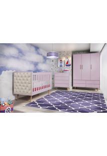 Dormitório Lorena Guarda Roupa 3 Portas Comoda 4 Gavetas Berço Lorena C/ Capitone Carolina Baby - Tricae