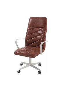 Cadeira Office Alta Jobs Courino Marrom Base Cromada 115Cm - 61303 Marrom