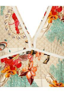 Regata Estampada Decote Costas Floral Marinho - Lez A Lez
