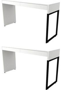 Kit 2 Mesas Para Computador Escrivaninha 2 Gavetas Desk - Fit Mobel Branco