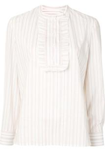 A.P.C. Madeline Jacquard Stripe Blouse - Branco