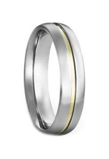 Aliança Compromisso De Aço C/ Filete De Ouro -13 - Unissex-Cinza