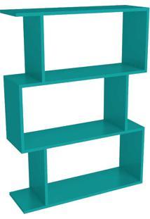 Estante Para Livros 3 Nichos Design Esm222 Turquesa - Móvel Bento