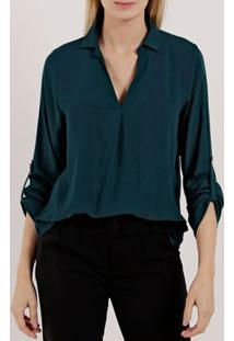 Camisa Manga Longa Feminina Verde