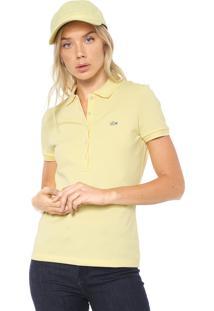 Camisa Polo Lacoste Slim Logo Amarela