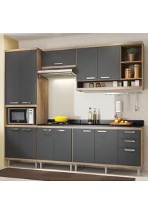 Armário De Cozinha Para Forno 4 Portas 5117 Premium Argila/Grafite - Multimóveis