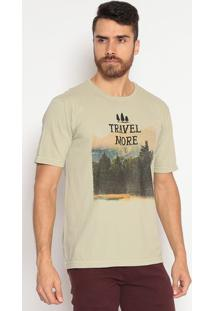 "Camiseta Comfort Fit ""Travel More"" - Verde & Pretaindividual"