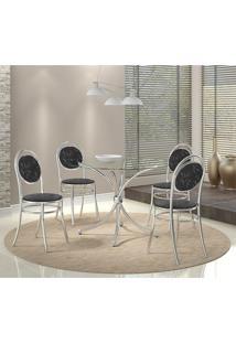 Mesa 375 Vidro Incolor Cromada Com 4 Cadeiras 190 Fantasia Preto Carraro
