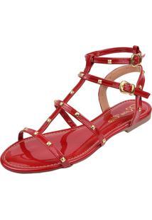 Sandália Rasteira Rosa Chic Calçados Tachas Gladiadora Spike Vermelha