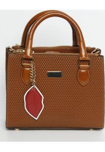 Bolsa Em Couro Texturizada & Com Bag Charm- Marrom Clarogriffazzi