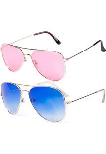 Kit De 2 Óculos De Sol Otto Aviadores Azul E Rosa - Kanui
