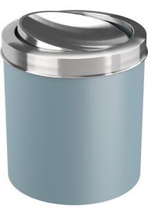 Lixeira Com Tampa Basculante- Inox & Azul Claro- 22,Brinox