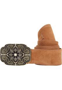 Cinto Shoestock Faixa Camurção Feminino - Feminino-Caramelo