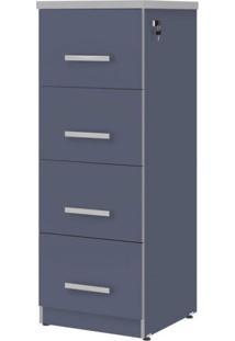 Gaveteiro Para Escritório 4 Gavetas Com Chave Top30 Plata Móveis Azul/Cinza