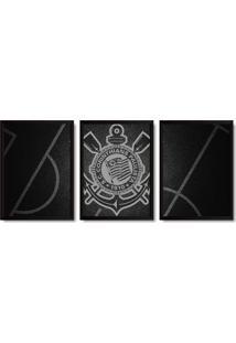 Quadros 3 Decorativos Com Moldura Corinthians Timã£O - Unico - Dafiti