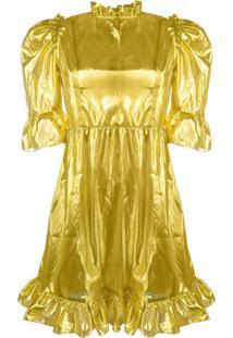 Batsheva Vestido Metálico Com Acabamento De Babados - Dourado