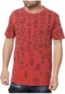 Camiseta Manga Curta Masculina Vels Vermelho